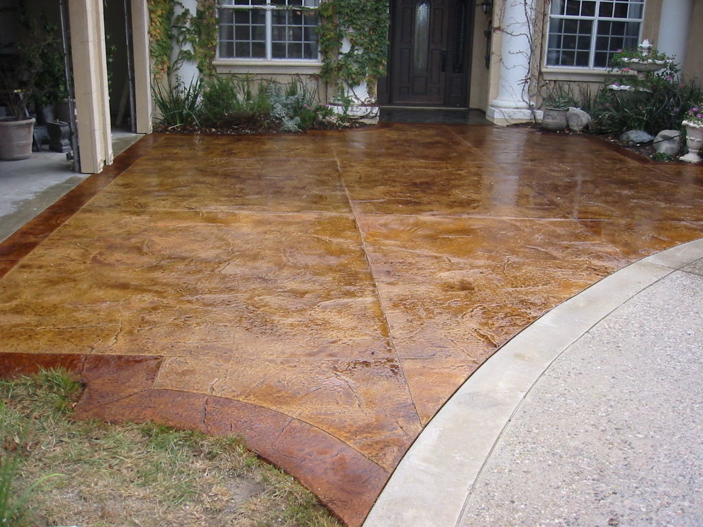 Stamped And Stained Concrete : Stamped and acid stain concrete resurfacing